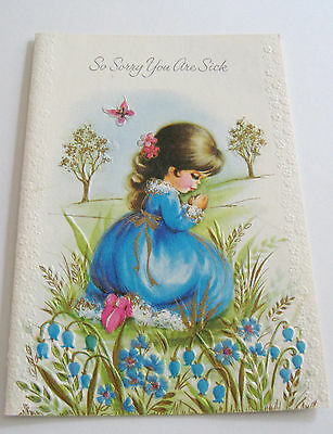 Used Vtg Get Well Card Cute Girl in Field by Flowers Praying
