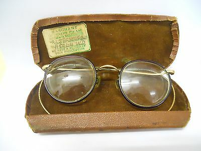 Antique Vintage Round Spectacles Glasses With Wire Ear Hooks In Original Case