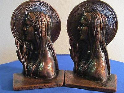 Vintage Art Nouveau Bronze Bookends ! Fantastic! Patent And Foundry Marks!