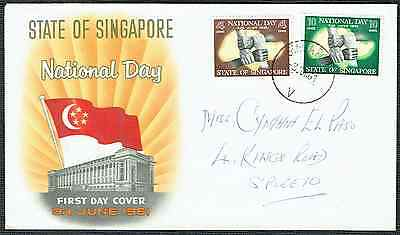 """SINGAPORE 1961 ~ State Of Singapore National Day FDC ~ 2 Stamps ~ """"V"""" CDS"""