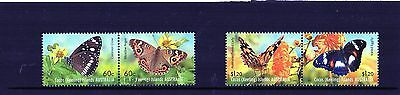 2012 Cocos (Keeling) Butterflies Set Of 4 Mint Never Hinged, 2 Pairs