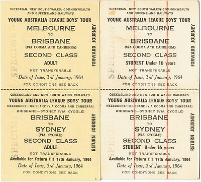 Railway tickets a trip from Melbourne to Brisbane in 1964 via Cooma and Canberra