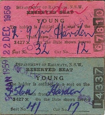 Railway tickets some reserved seats from Young in the 1950's with the old NSWGR