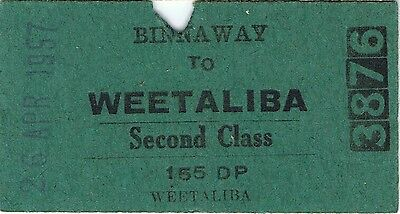 Railway ticket a trip from Binnaway to Weetaliba in 1957 with the old NSWGR