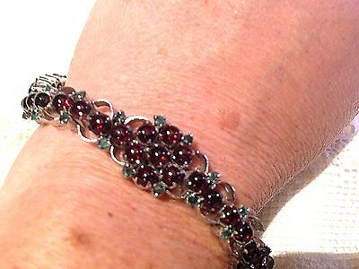 Vintage Antique Genuine Garnet Real Emerald 925 Sterling Silver Tennis Bracelet