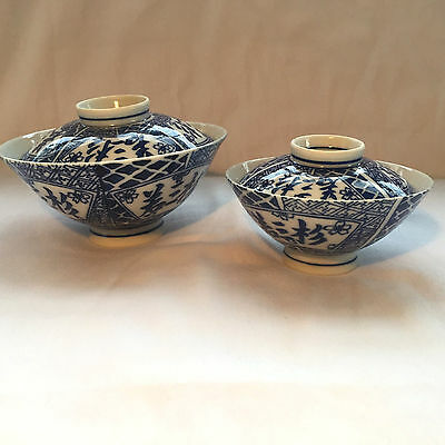 Antique Japanese Porcelain Rice Bowls with Tops - Set of 2