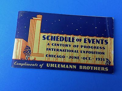 Schedule of Events - A Century of Progress - 1933 Chicago