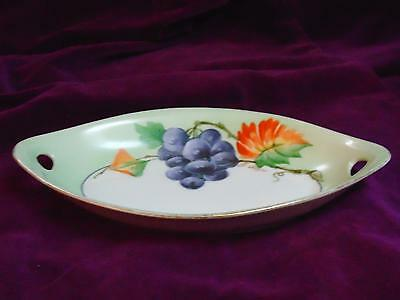 Vtg Hand Painted Grapes ZS & Co Bavaria China Oval Relish Fruit Plate Small Dish