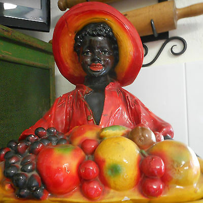 GENUINE AUSTRALIAN ANTIQUE PLASTER STANDING BLACK BOY FRUIT FIGURINE! 1920's