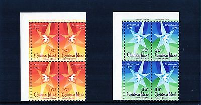 1976 Christmas Island Christmas Issue Set Of 2 Corner Blocks Of 4 MNH