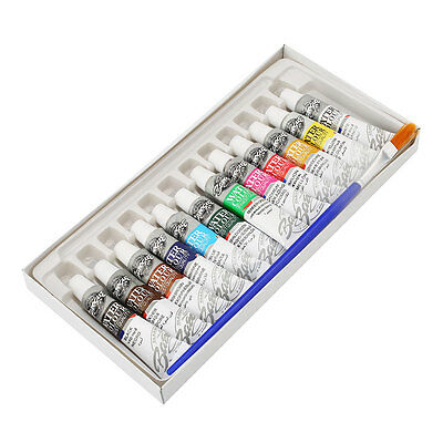 12 Colors Tube 6ml Paint Brush Color Set Painting Pigment Acrylic With Brush