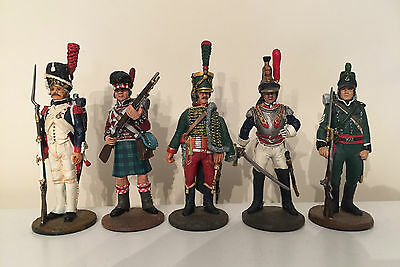 5x 10cm Metal (Lead) Hand Painted Soldiers Dragoon, French Guard Hussar