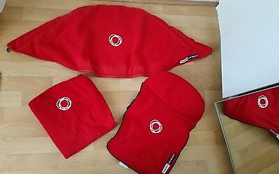 bugaboo cameleon red fleece fabric set hood, apron and seat cover..