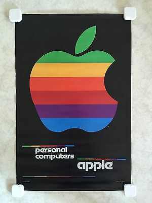 """AUTHENTIC ICONIC APPLE POSTER -- """"1980 Rainbow Color Poster"""" -- ORIGINAL"""