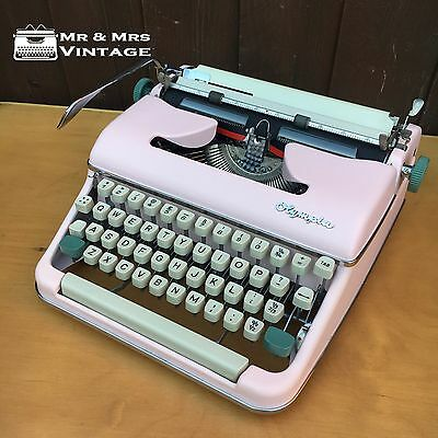Excellent Pink Olympia SM5 Typewriter Working Red black Ribbon Rare