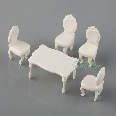 5pcs 1:25 Scenery Inner Model Dining Room Set white Table with 4 Chairs