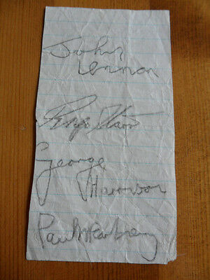 BEATLES x 4 AUTOGRAPHS, IN PENCIL. 1963.