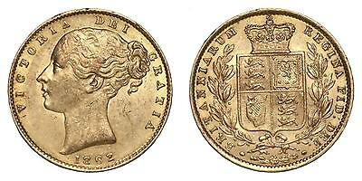 Great Britain Queen Victoria Gold Or Sovereign 1862 London High Grade