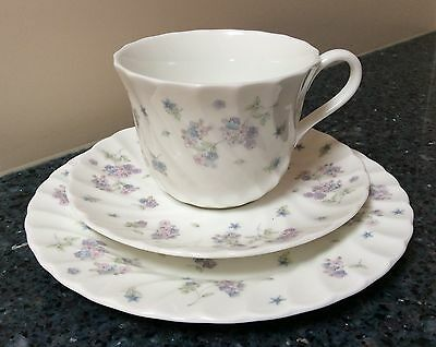 Wedgwood April Flowers Cup & Saucer & Side Plate Trio Made in England