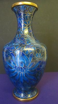 Chinese Cloisonne Blue Flowers Vase