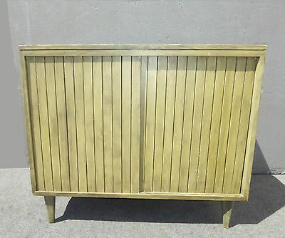 Vintage Mid Century Green Console Storage Sideboard CABINET Two Doors Open Space