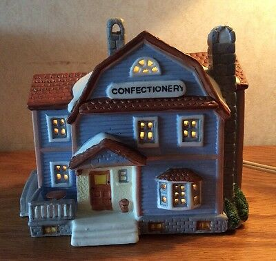 CHRISTMAS HOUSE 1991 LEMAX Dickenson Confectionery w/box blue colorful Lighted