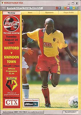 Football Programme - Watford v Swindon Town - League Cup - 1997