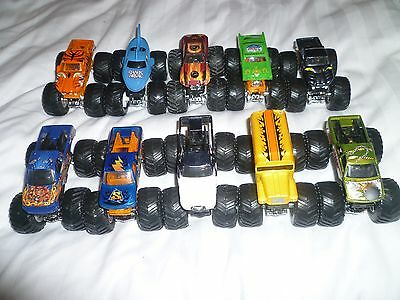 10 x monster jam hot wheels cars 1/64 scale
