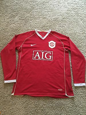 Manchester United Home Shirt 2006/07 Adults Large (L) Scholes Long Sleeve Nike