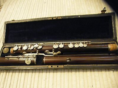 Circa 1868 Crown Rudall Rose Carte and Company Wooden Flute