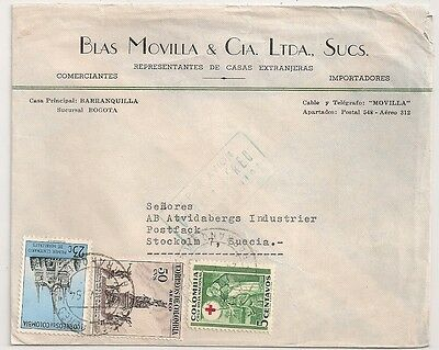 Cover Colombia Colombie Bogota To Sweden. L 554