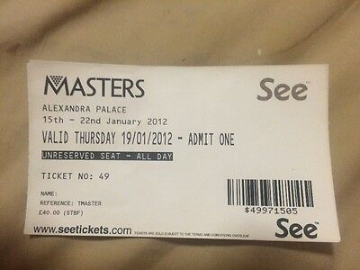 Masters Snooker (2012) Used Ticket