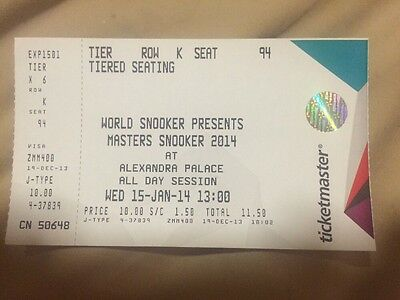 Masters Snooker (2014) Used Ticket
