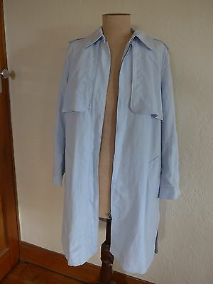 """Blue Illusion pearl blue """"Soft Trench"""" tencel/linen coat size M (12) NWT"""