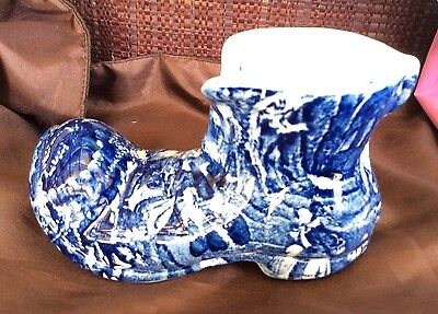 Vintage Old Fashioned Boot – blue & white – Staffordshire Kent – Old Foley