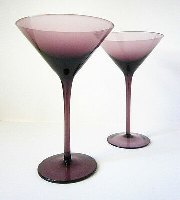 Beautiful Pair Vintage Amethyst Purple Glass Cocktail Glasses 18Cm Tall