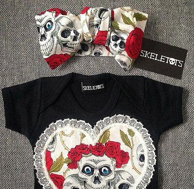 SKELETOTS baby/girl red skull & rose tattoo bow headband goth rock punk metal