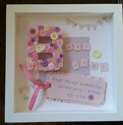 Personalised Frame New Baby Christening Gift Present Girl Boy Button