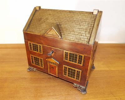 Antique Regency Delightful House Tea Caddy With Bowl And Key. 1820's