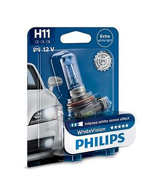 Genuine Philips H11 White Vision Headlight Bulb (Single) 12362WHVB1