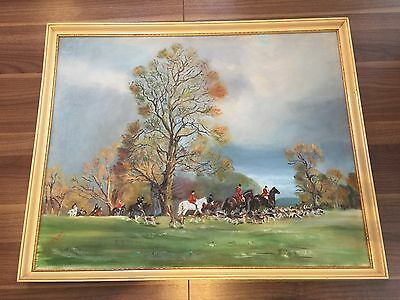 Original hunting oil painting horses and country scene