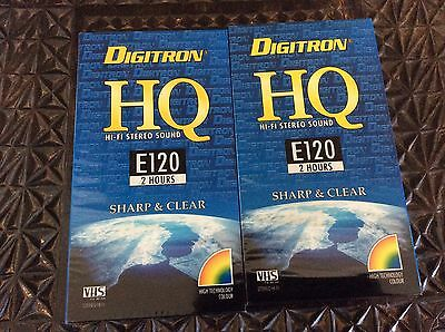 2 blank video VHS  tapes Digitron E120 new and sealed