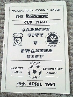 Cardiff City v Swansea City Youth Cup Final programme 1991 excellent condition