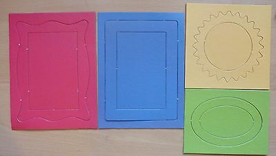 Chipboard Frames - Blue, Red, Yellow, Green - Oval, Rectangle, Sun - 4 sheets