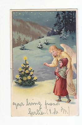 Charming Postcard Of A  Little Girl And  Her Guardian Angel & Christmas Tree