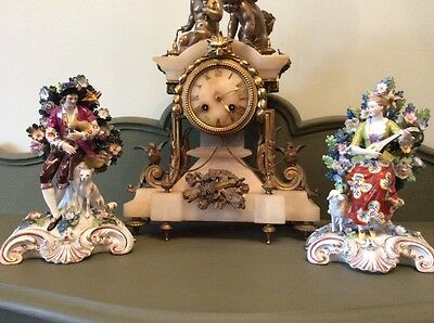 Pair Of Antique Ornate Volkstedt Figures
