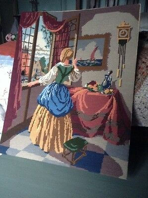 17.5 x 21.75 inches large anchor completed vintage tapestry