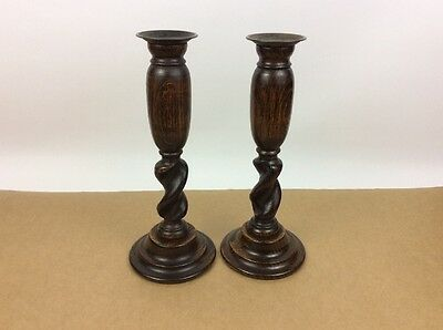 Vintage Pair Oak Barley Twist Candlesticks