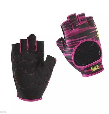 Brand New Nike Women's Fit Training Gloves Size L Fingerless Gym Black Pink Camo