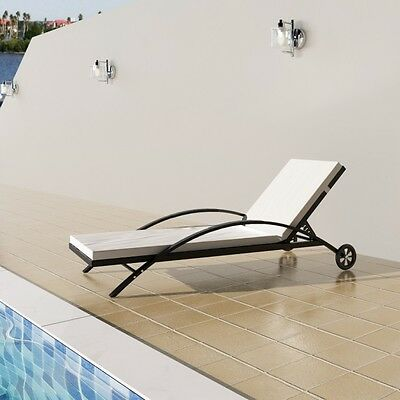Outdoor Sun Lounger Rattan Sunbed Black With Cushion Garden Pool Patio Furniture